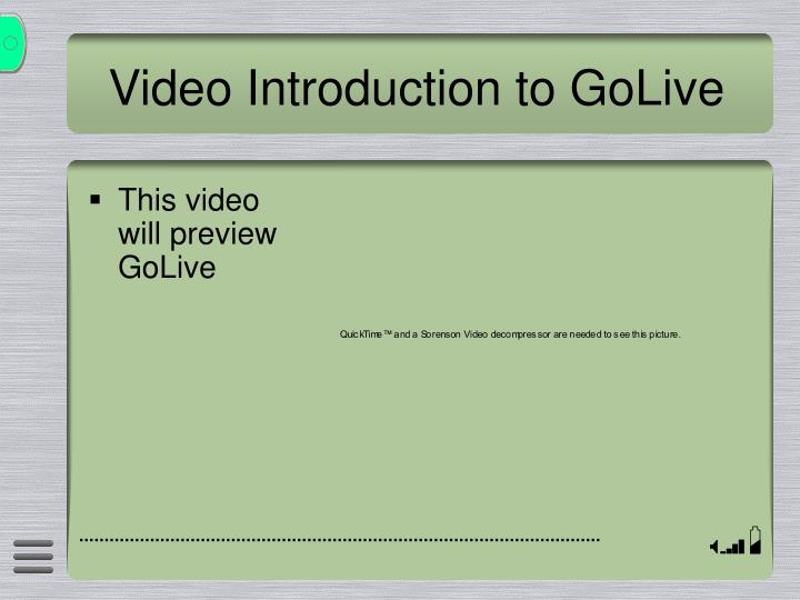Video Introduction to GoLive