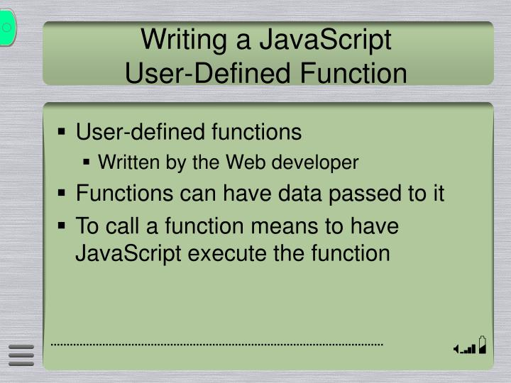 Writing a JavaScript