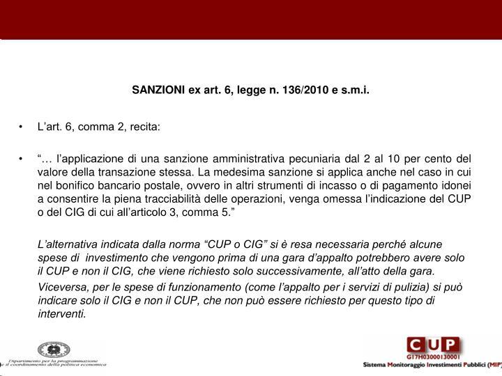 SANZIONI ex art. 6, legge n. 136/2010 e s.m.i.