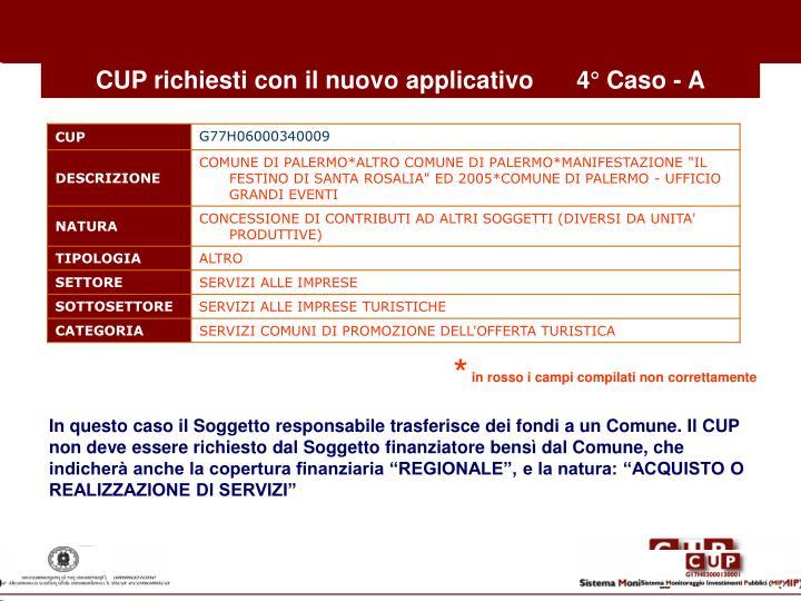 CUP richiesti con il nuovo applicativo4° Caso - A