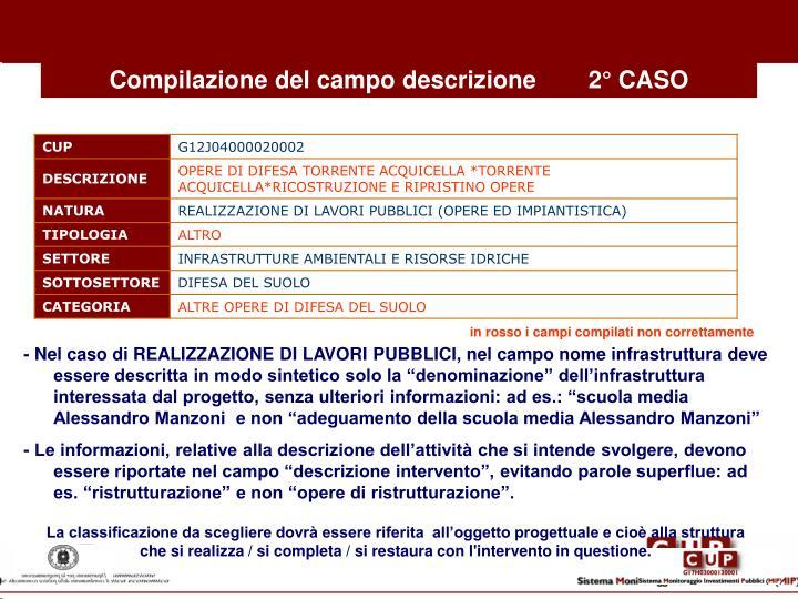 Compilazione del campo descrizione2° CASO