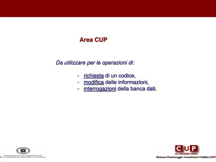 Area CUP