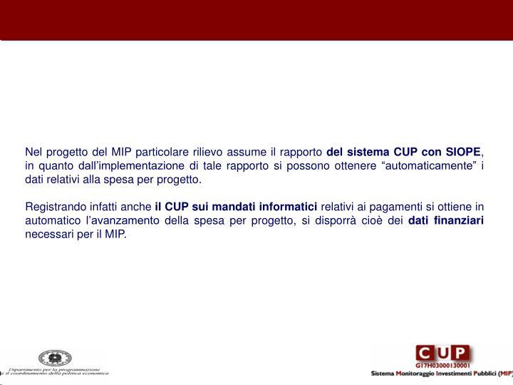 Nel progetto del MIP particolare rilievo assume il rapporto