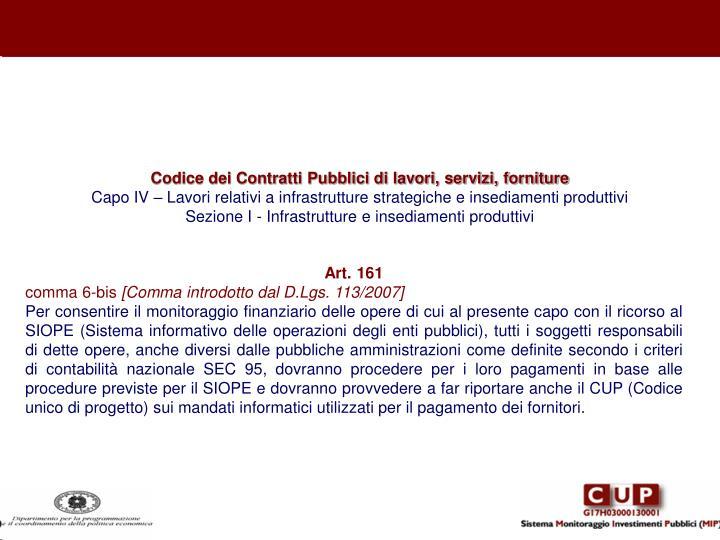 Codice dei Contratti Pubblici di lavori, servizi, forniture