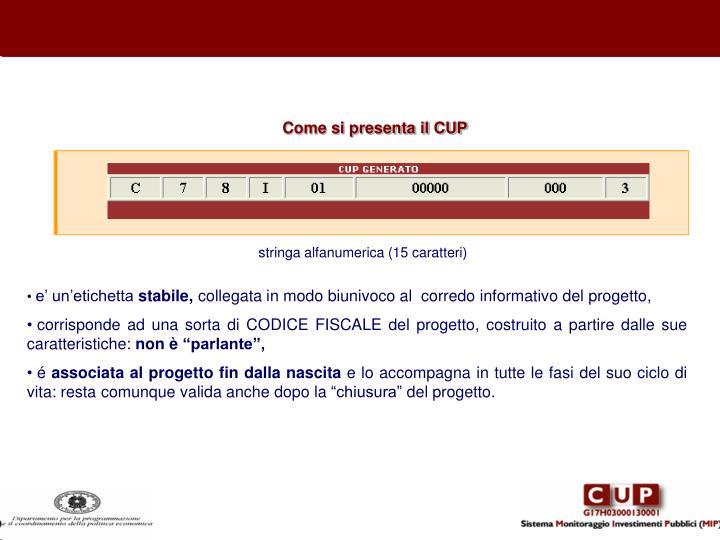 Come si presenta il CUP