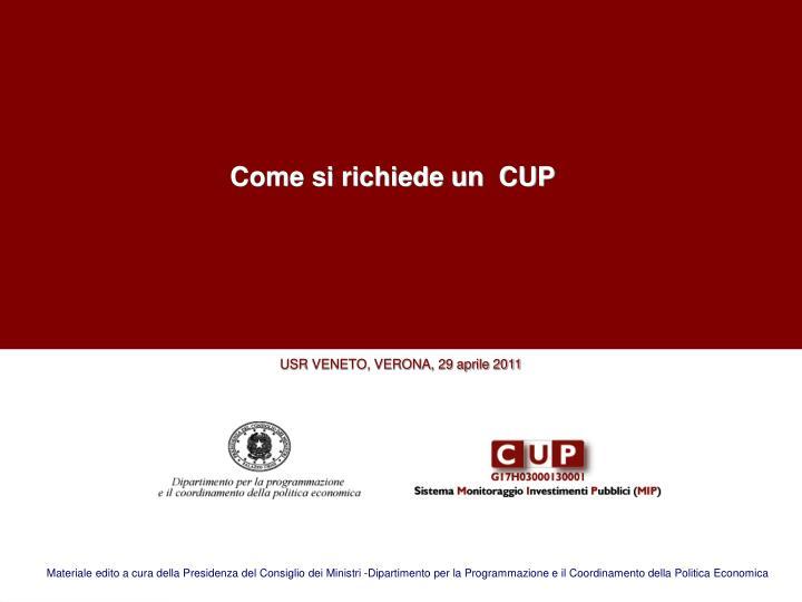 Come si richiede un  CUP
