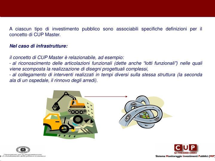A ciascun tipo di investimento pubblico sono associabili specifiche definizioni per il concetto di CUP Master.