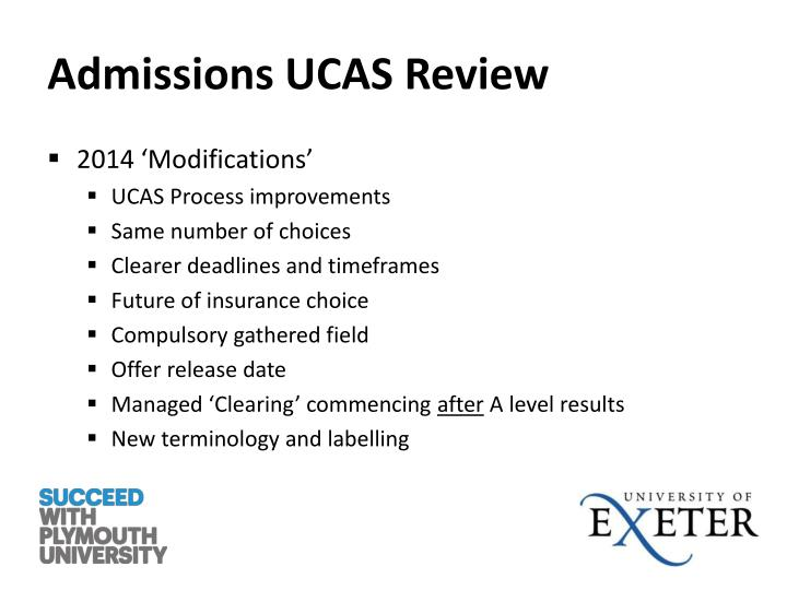 Admissions UCAS Review
