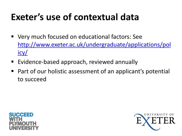 Exeter's use of contextual data