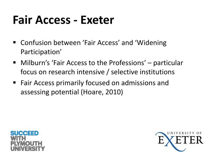 Fair Access - Exeter