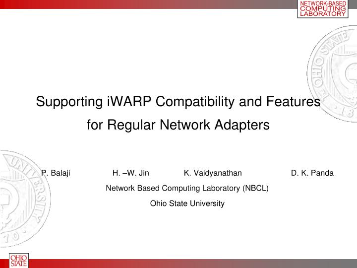 Supporting iWARP Compatibility and Features for Regular Network Adapters