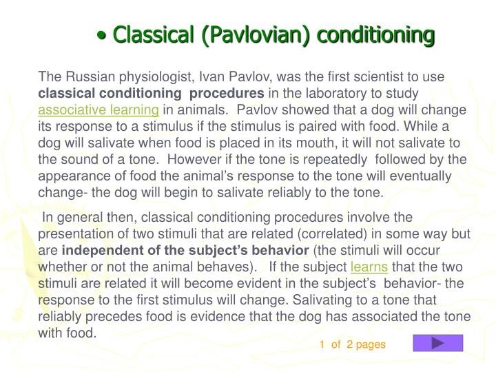 Classical (Pavlovian) conditioning