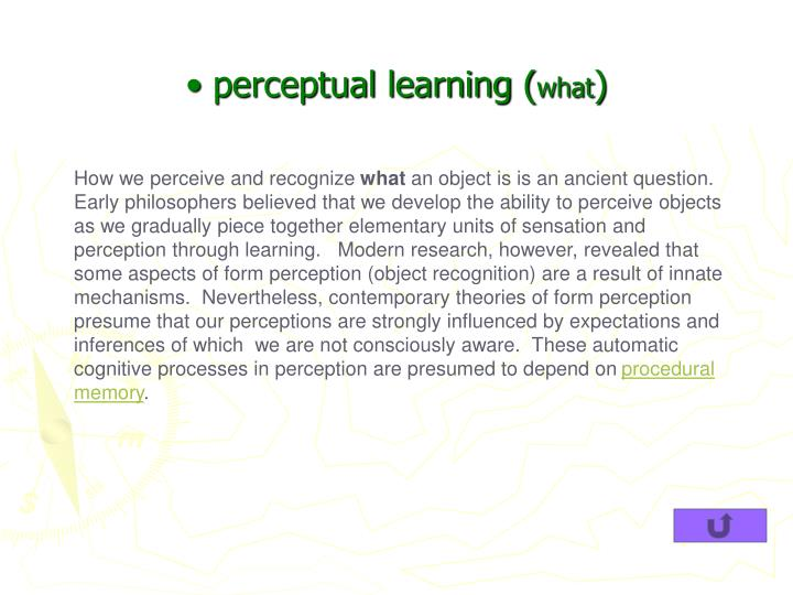 perceptual learning (