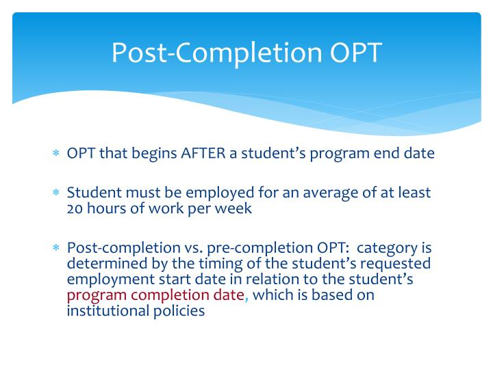 Post completion opt1