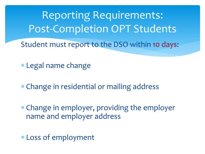 Reporting Requirements: