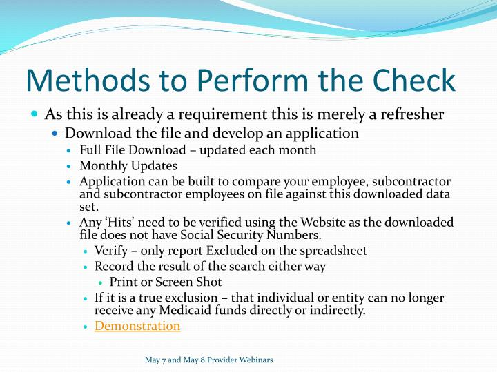 Methods to Perform the Check