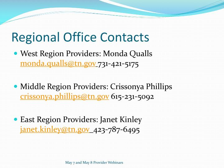 Regional Office Contacts