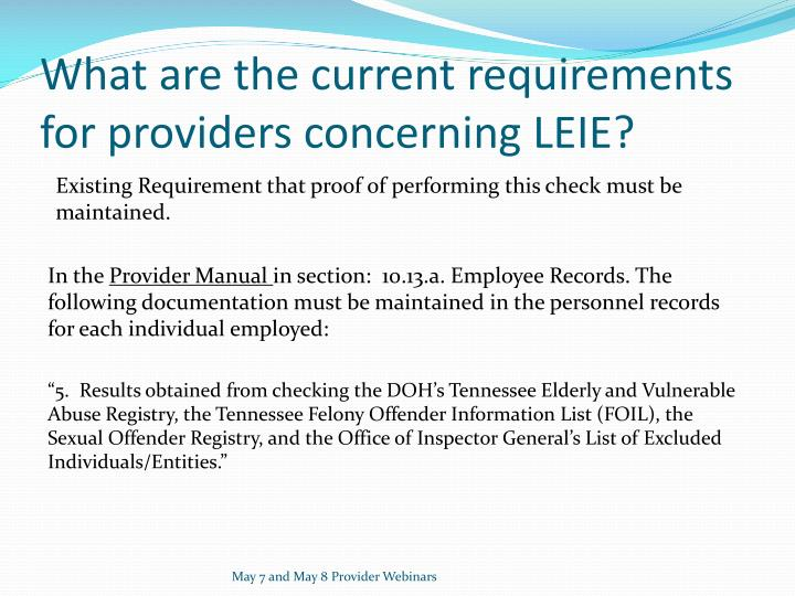 What are the current requirements for providers concerning LEIE?