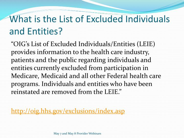 What is the List of Excluded Individuals and Entities?