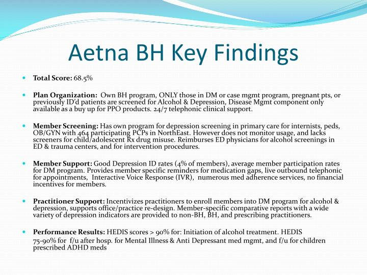 Aetna BH Key Findings