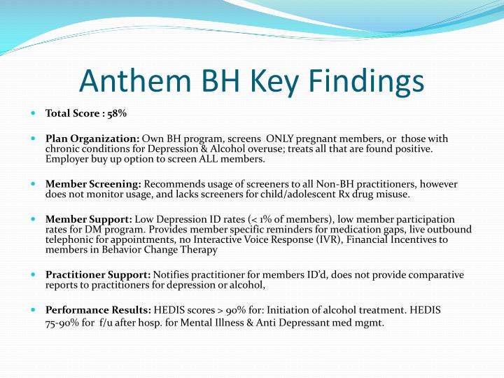 Anthem BH Key Findings