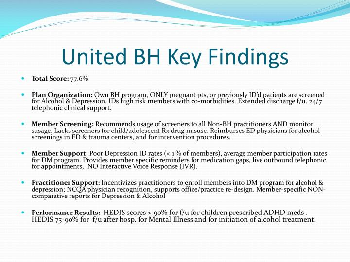 United BH Key Findings