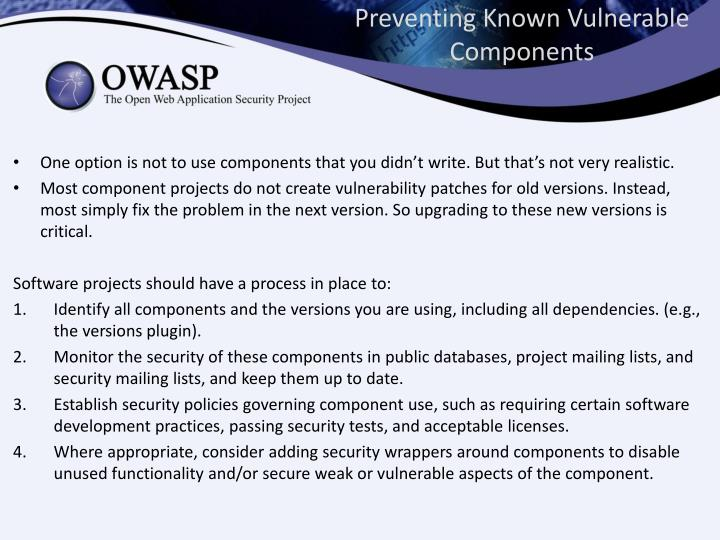 Preventing Known Vulnerable Components