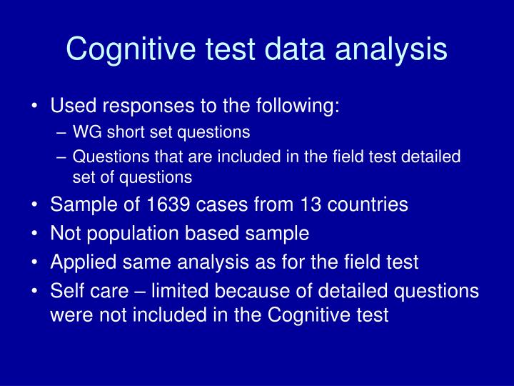 Cognitive test data analysis