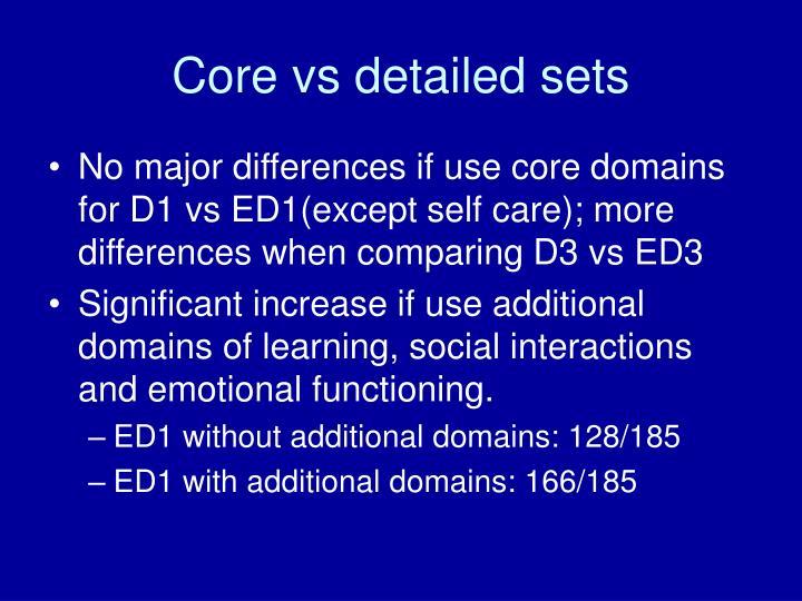Core vs detailed sets