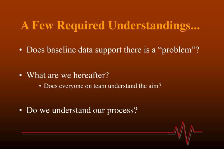 A Few Required Understandings...
