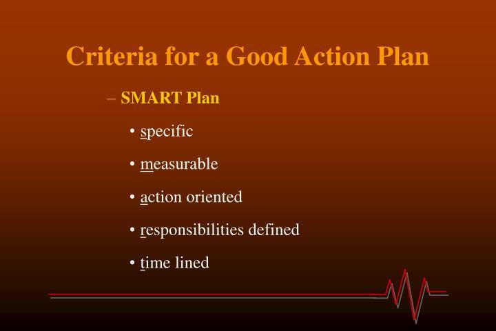 Criteria for a Good Action Plan