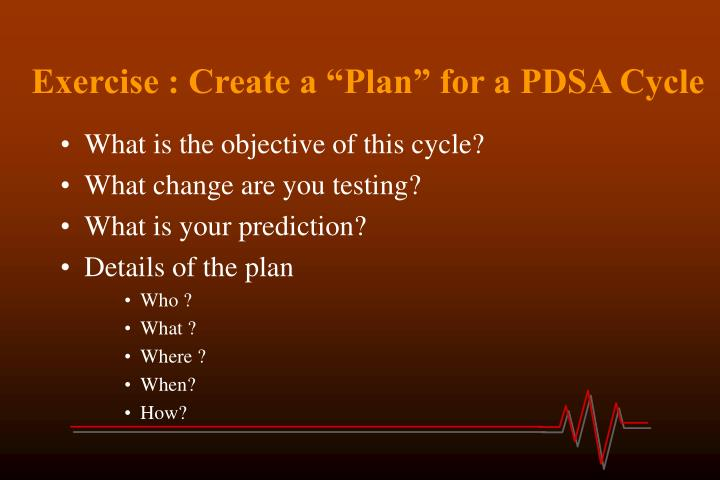 "Exercise : Create a ""Plan"" for a PDSA Cycle"