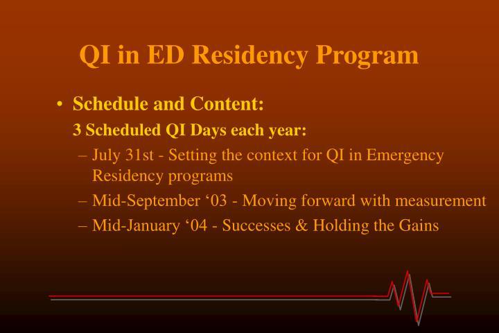 QI in ED Residency Program