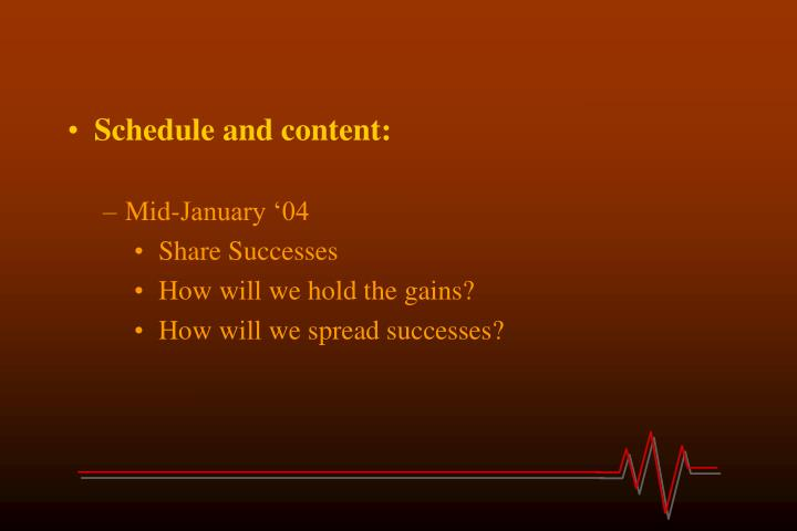 Schedule and content: