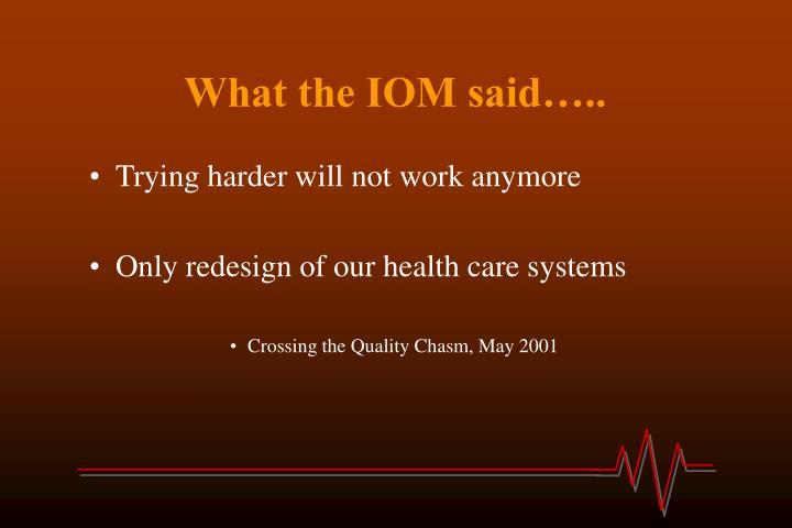 What the IOM said…..