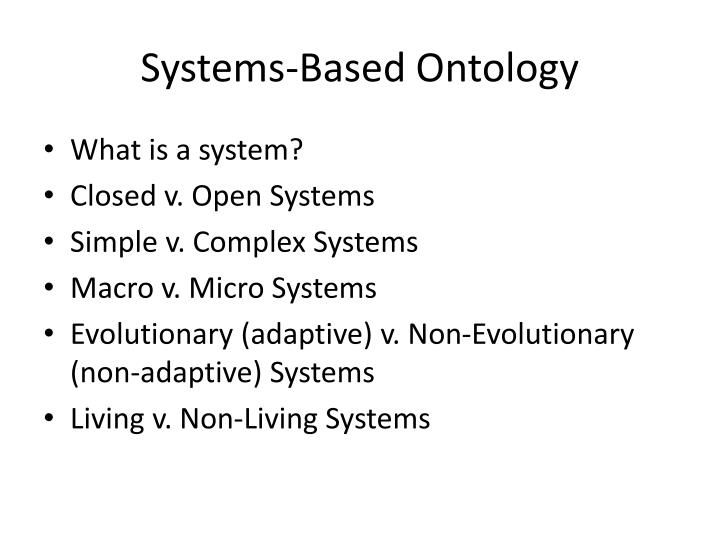 Systems-Based Ontology