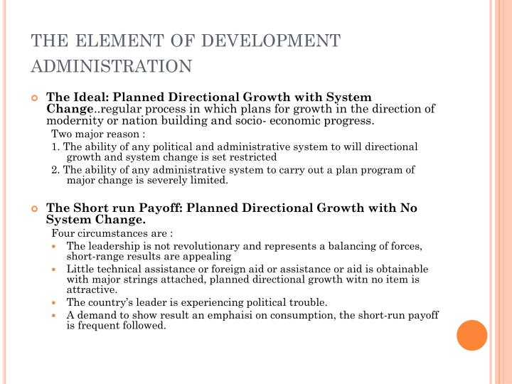 the element of development administration