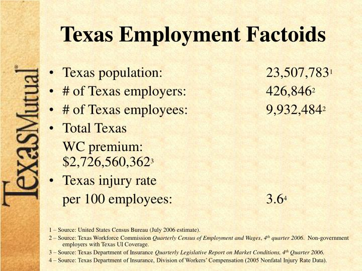 Texas Employment Factoids