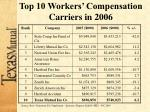 top 10 workers compensation carriers in 2006