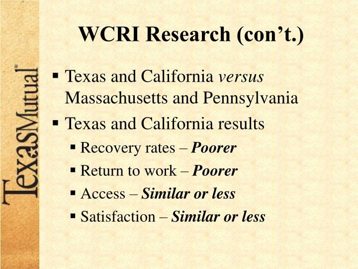 WCRI Research (con't.)
