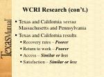wcri research con t