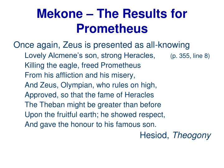 Mekone – The Results for Prometheus