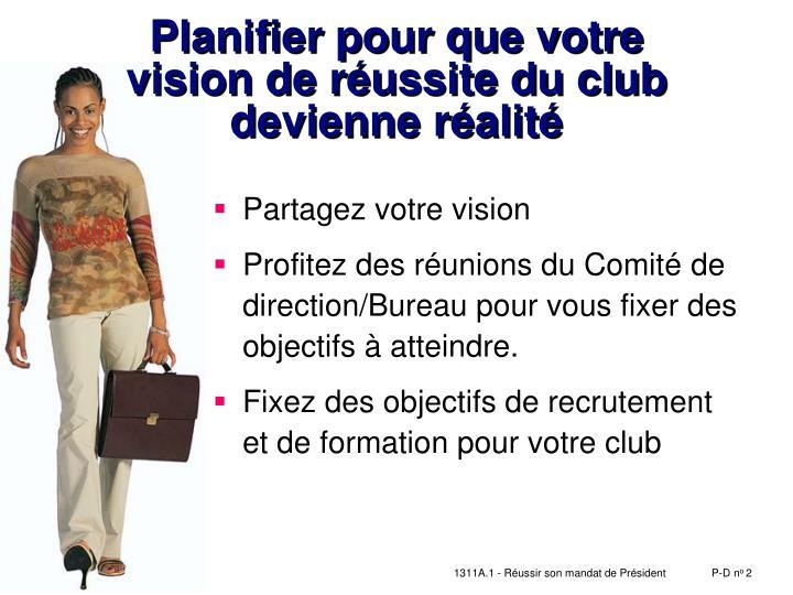 Planifier pour que votre        vision de réussite du club devienne réalité