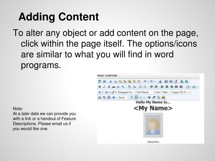 Adding Content