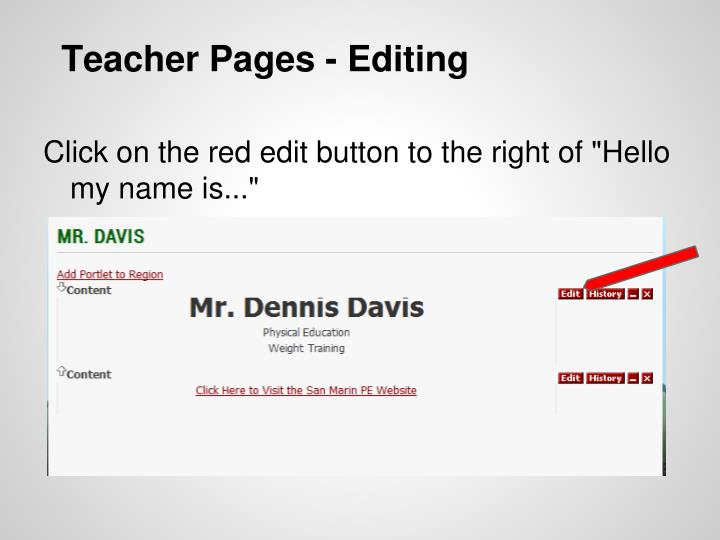 Teacher Pages - Editing