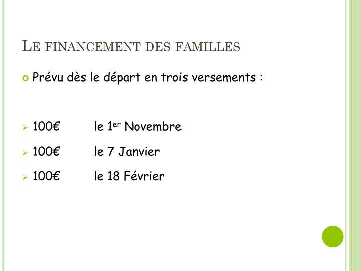Le financement des familles