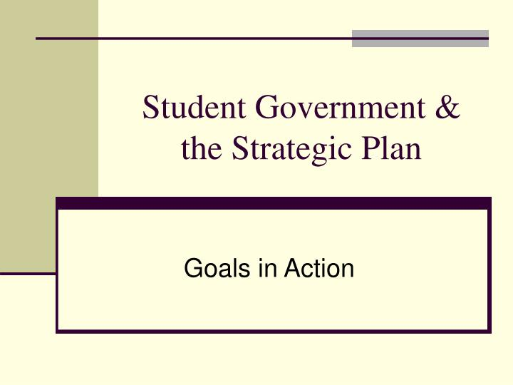 Student Government & the Strategic Plan