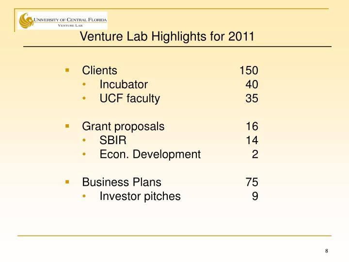 Venture Lab Highlights for 2011