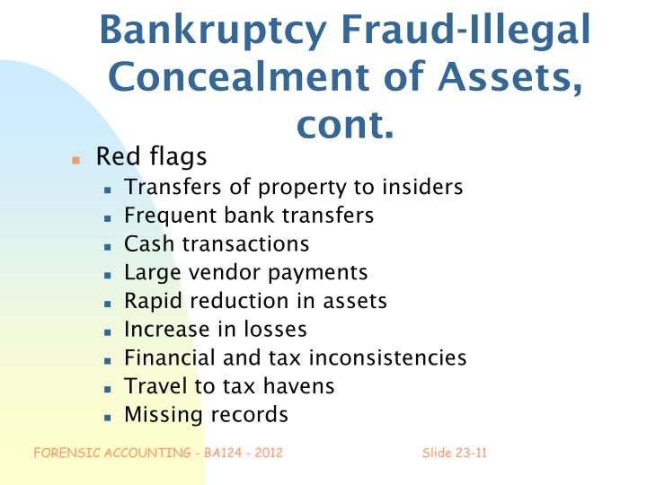 Bankruptcy Fraud-Illegal Concealment of Assets, cont.