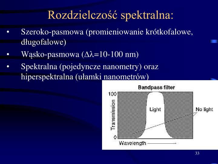 Rozdzielczość spektralna: